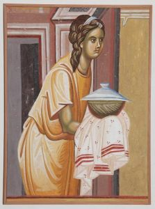 Serbia, Studenica, The Girl with gifts, copy of the fresco