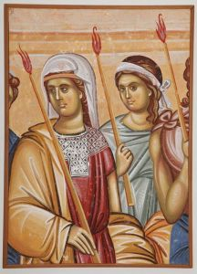 Serbia, Studenica,Two girls with candles, copy of fresco