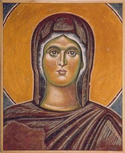 Serbia,Pec,Patriarchy, Ascansion of Christ,detail- Holy Virgin, copy of the fre