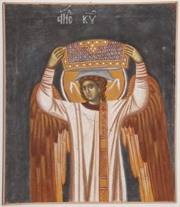 Serbia, Gracanica, The Divine liturgy, detail- Angel, copy of fresco