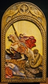 St. George slaying the dragon - Carved in wood