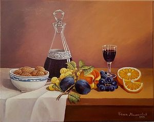 Still life with fruit and wine 2