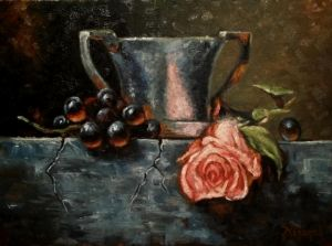 Still life with grapes and a rose