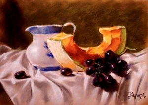 Still life with grapes and pumpkin