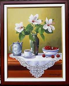 Still life with white flowers in vase