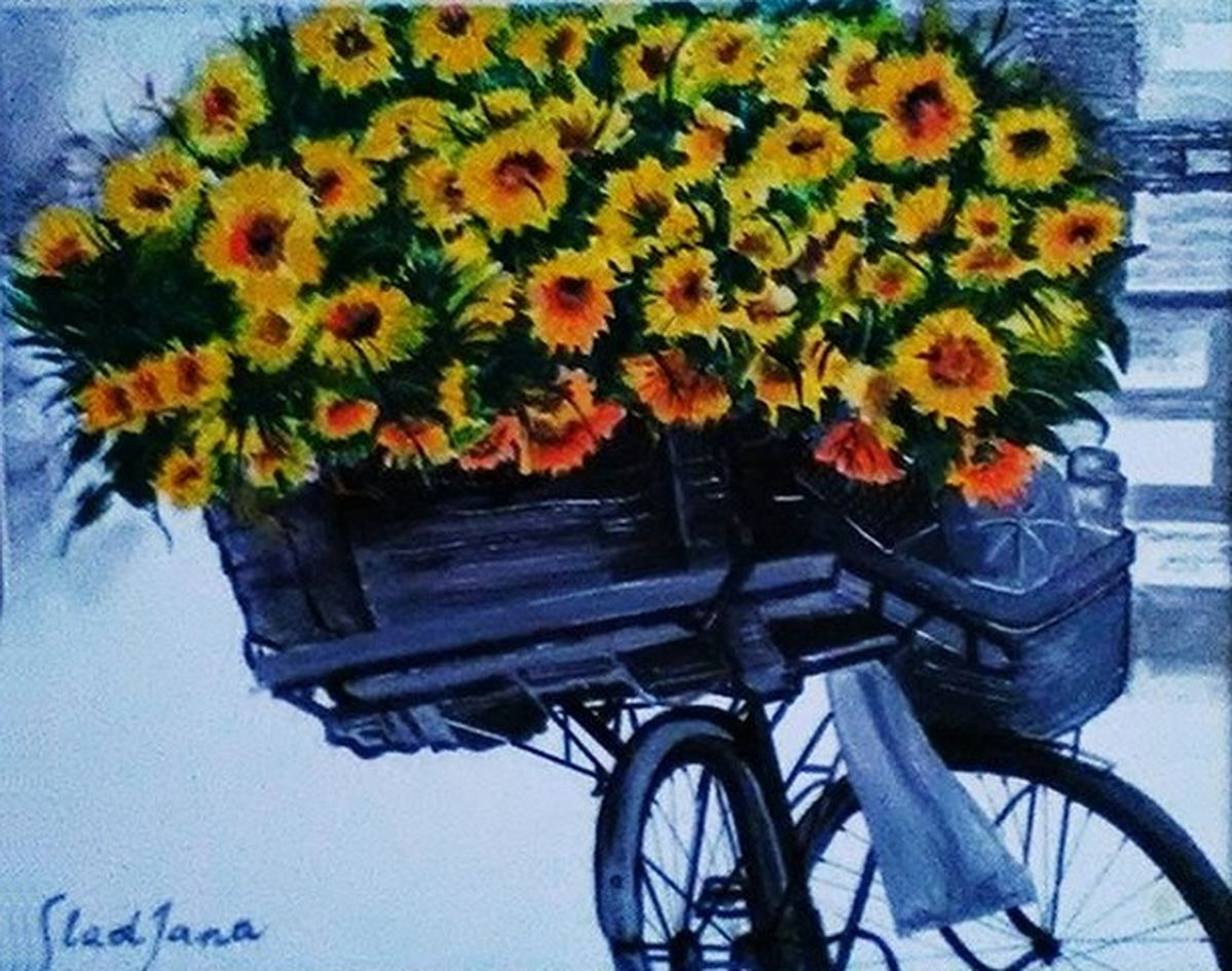 Sunflowers on a bicycle