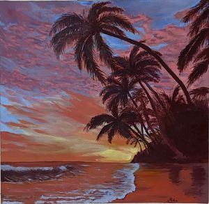 Sunset on the shores of palm trees