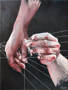 The hands of a man