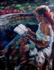 the lady reading on the balcony