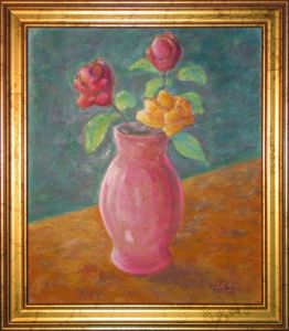 Three Roses in Red Vase