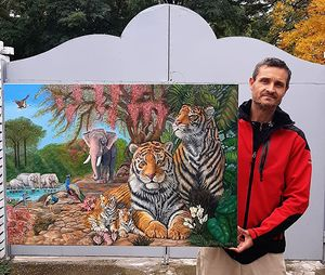 Tigers in the garden - oil on canvas
