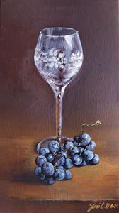 Vine glass- oil on canvas 20x35cm