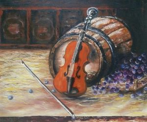 Violin and wine