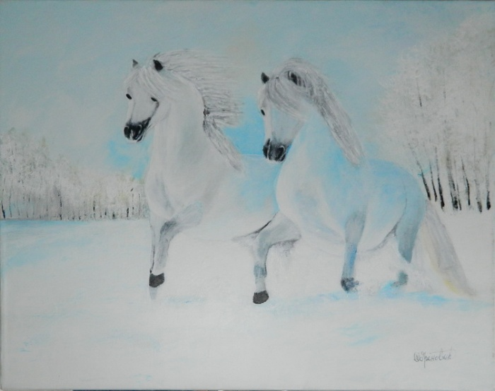 White horses in the snow