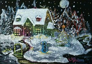 Winter House with Snowman