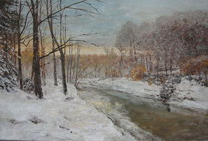 Winter motif with river