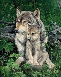 Wolves Oil on canvas