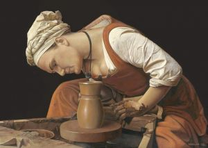 Woman and the pottery