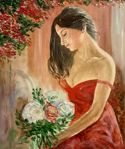 Women and bouquet of roses