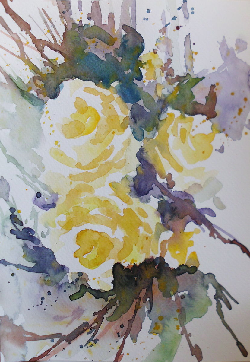 Yellow roses- watercolor 17x24cm